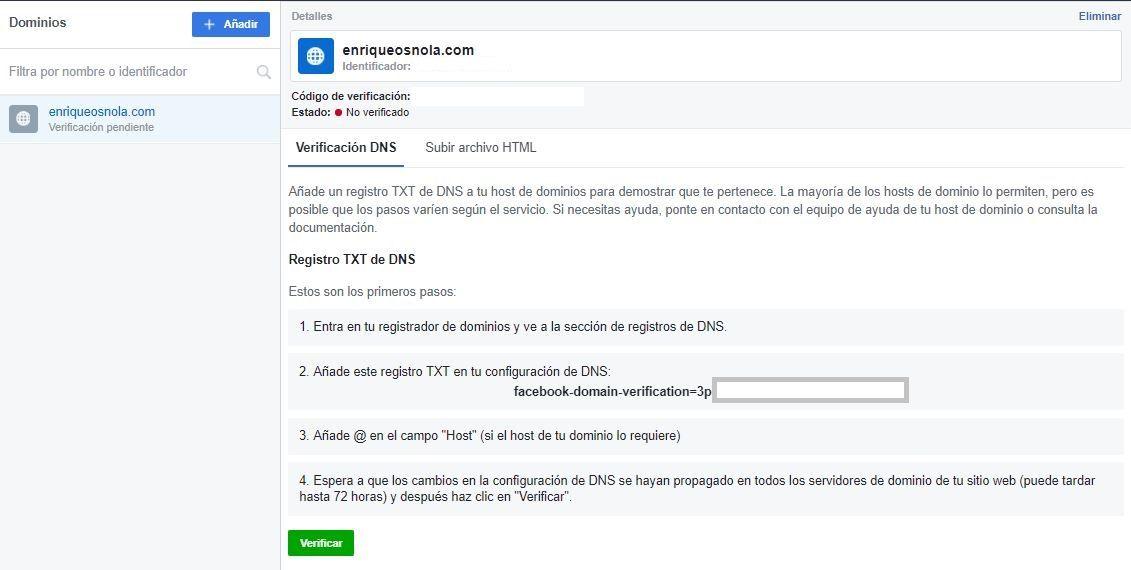 Verificación de dominio (DNS) - Facebook BM