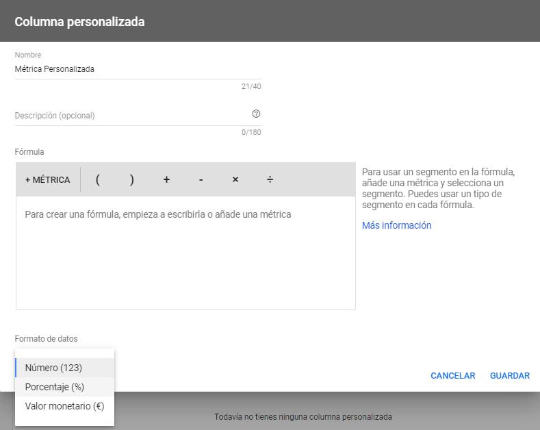 Métricas Personalizadas Google Ads