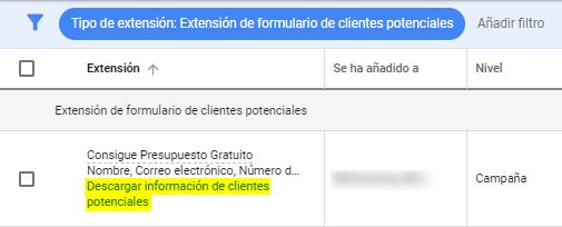 Leads en Extensión de Formulario Google Ads
