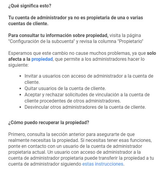 Propiedad Cuentas Administrador Google Ads