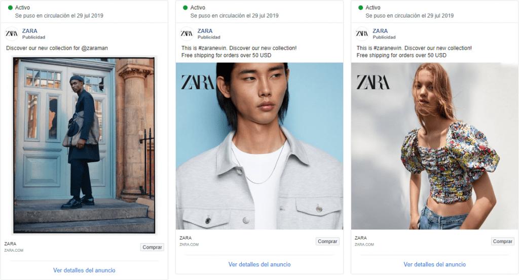 Anuncios Facebook Zara Estados Unidos