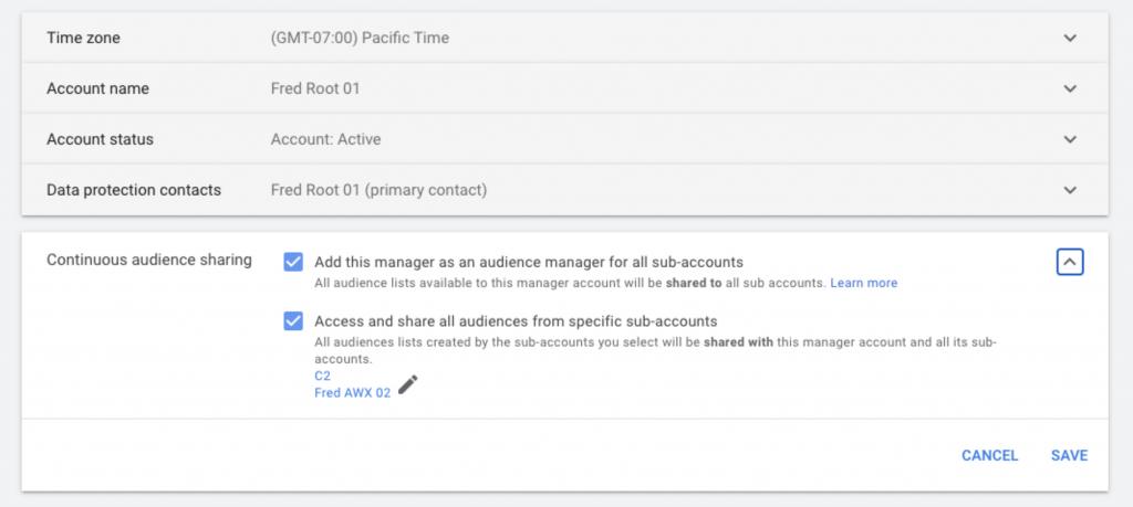 Google Ads audiencias subcuentas