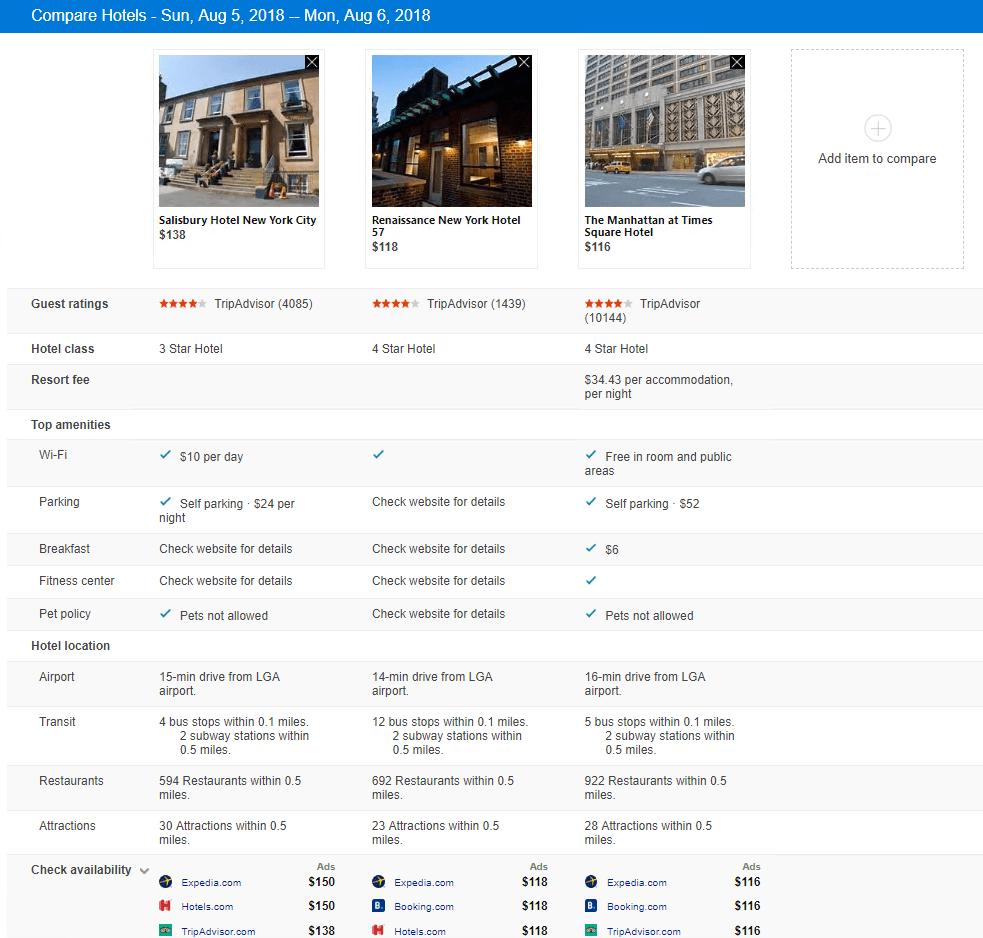 Microsoft Reserva Hoteles en Bing