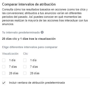 Comparar Intervalos Atribución Facebook