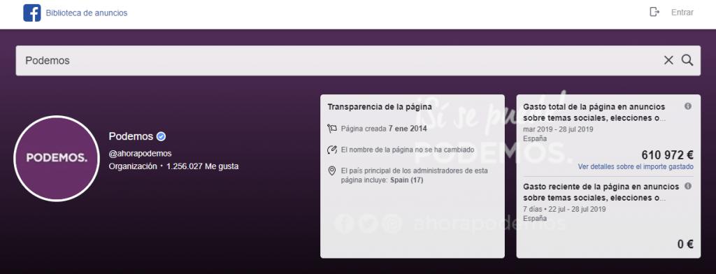 Publicidad de Podemos en Facebook