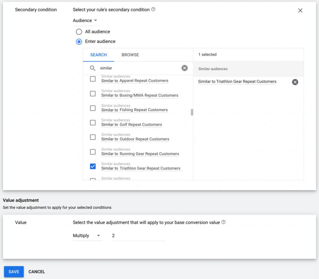 Valor de conversión Google Ads