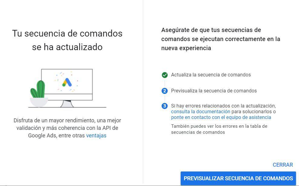 Secuencia Comandos Google Ads